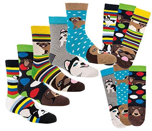Kinder Öko Socken 6 Paar für Jungen/Mädchen,Schadstoffgeprüft, in vielen Mustern (Lustige Hunde, 35/38 = 9-10 Jahre)