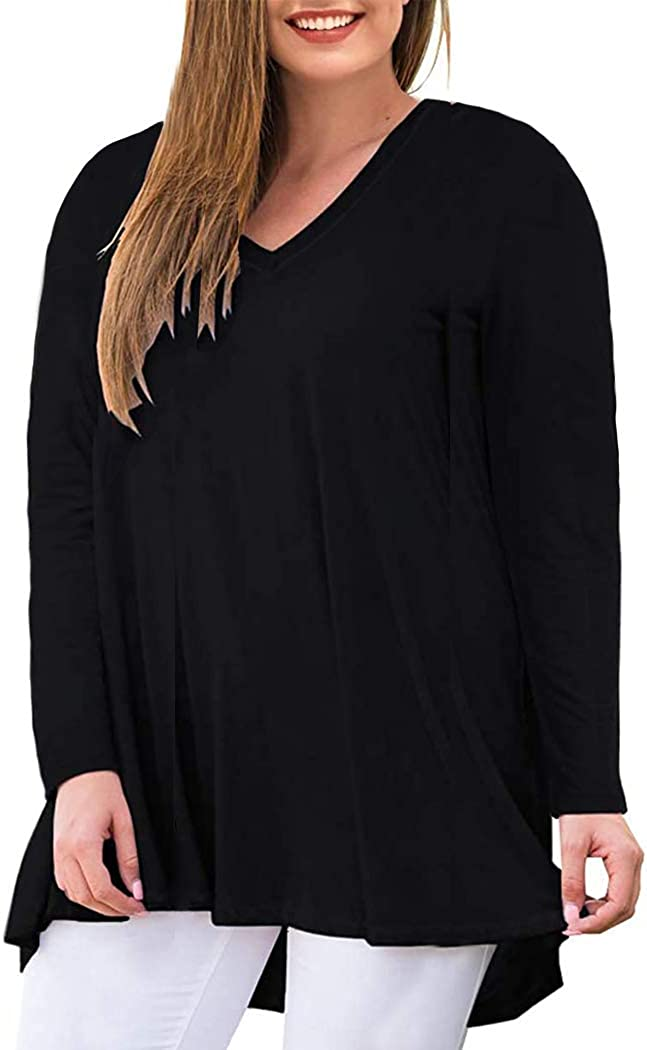 Miqieer Women's Plus Size Casual Long Sleeve High Low Hem Fall Loose Solid Tee Tops