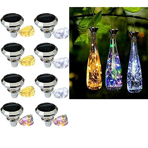 SNAWEN Paquete de 8 Luces solares de Corcho de Vino 2M 20 LED Lámpara de decoración de Fiesta de jardín de Guirnalda de Alambre de Cobre,8pcs 3color