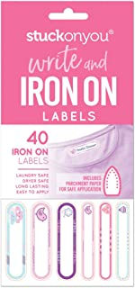 Write and Iron On Self-Adhesive Labels - Pink Pack by Stuck on You - Apply to School Uniform, Clothing, School Bags - Laundry, Dryer Safe, Long Lasting, Easy to Apply Name Tags (40 Labels/Pack)