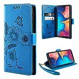 ivencase Samsung Galaxy A20e Hülle Flip Lederhülle, Samsung Galaxy A20e Handyhülle Book PU Leder Tasche Hülle mit Kartenfach & Magnet Kartenfach Schutzhülle für Samsung Galaxy A20e - (Türkis-blau)