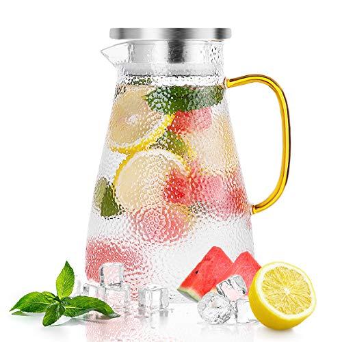 Caraffa in vetro da 1,5 litri con coperchio, ANBET Caraffa in vetro borosilicato Caraffa in vetro con manico e filtro per acqua calda/fredda Tè freddo Vino Vino e succo