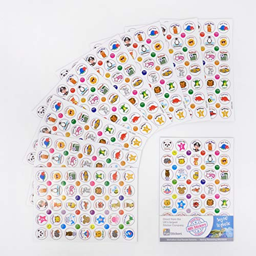 Teacher Reward Paper Stickers for Children & Kids - 15 x A5 Sheets, 885 Stickers - School Stationery Supplies Scrapbook Craft Activities - Fun Learning Resources Boys Girls (White Characters)