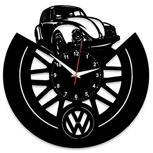 LMZJLU wanduhr Vinyl für vw Volkswagen mit Plakette Vinyl großen Stil Uhren Dekoration hervorragende Geschenkidee für vw Volkswagen