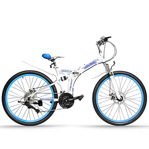 Mountain Bikes Folding Unisex Variable Speed Bicycle, Double Shock Absorption and Double Disc Brake, Suitable for Wasteland, Road (Color : White Blue, Size : 26 inch)