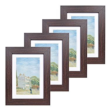 5x7 Wood Picture Frame - Flat Profile - Set of 4 - for Picture 4x6 with Mat or 5x7 without Mat (Walnut)