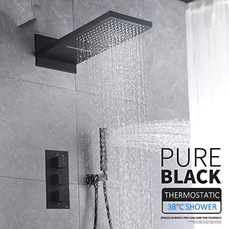 SHIJING Thermostat-Duscharmatur-Set, Regenwasserfall-Duschkopf mit 3-Wege-Thermostat-Mischarmatur für Badewanne und Dusche, Schwarz