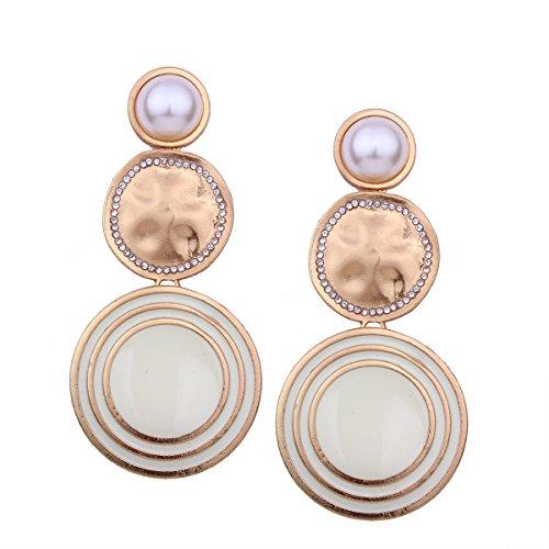 Pendientes Ambiente Pendientes de perlas de imitación para mujer Textura de hilo geométrico Disco grande Pendientes largos Te hacen más sexy Blanco