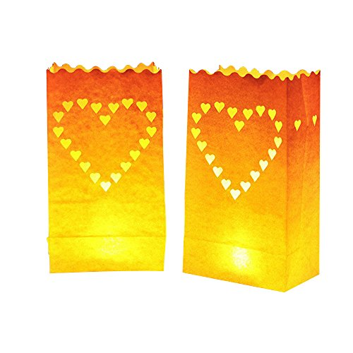 Rely2016 Romantic 20Pcs Heart Shaped Candle Paper Bags Luminary Tea Light Bag for Wedding Engagement Marriage Birthday Party Décor
