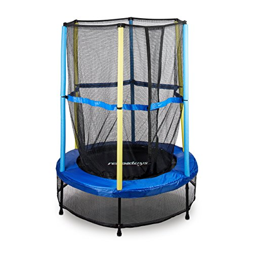 Relaxdays 10020804, Trampolino Da Esterno Con Tappeto Elastico Per Bambini, Rete Di Protezione Unisex, Nero/Giallo/Blu, 172 X 143 X 143 Cm