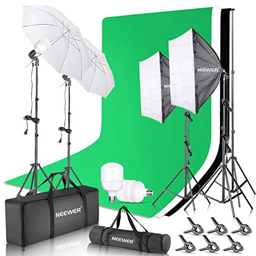 Neewer 8.5x10ft Backdrop Stand Support Kit with 6x9ft Background, 900W 5500K 24-inch LED Softbox and Umbrellas Continuous Lighting Kit for Photo Studio Product Portrait Photography Video Shooting