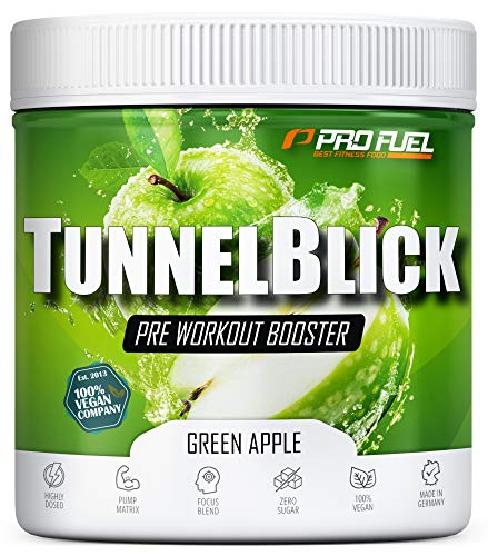 Pre-Workout-Booster Trainingsbooster Tunnelblick mit Citrullin, Taurin, Koffein & Guarana - MADE IN GERMANY - Green Apple