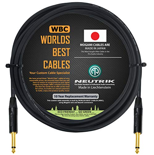 10 Foot - Guitar Bass Instrument Cable Custom Made by WORLDS BEST...