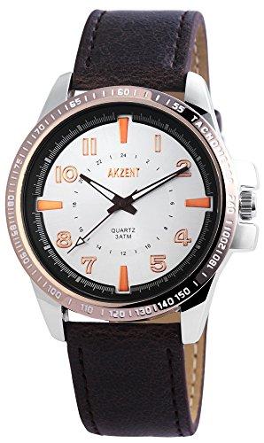 Akzent Herren Analog Quarz Uhr mit Leder Armband SS7522600010