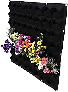 Yosoo 64 Pockets Planting Bags Wall Hanging Gardening Planter Outdoor Indoor Vertical Greening Grow Bags Flower Growing Container, Black