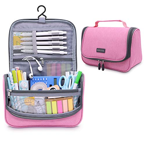 Aiscool Big Capacity Pen Pencil Case Holder Bag Pen Organizer Pouch Stationery Box Oxford Cloth Dry-wet Separation Portable Travel Hanging Bag Toiletry Bag for School Home Office (Pink)