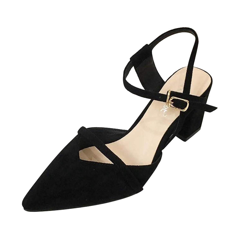 [OceanMap] ミドルヒール アンクルストラップ パンプス 痛くない 黒 赤 太ヒール レディース 走れる ポインテッドトゥ 靴 ストラップ 結婚式 ブラックフォーマル 歩きやすい スエード お呼ばれ 大きいサイズ パーティー