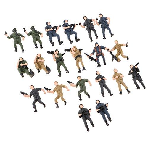 FLAMEER 20 Piezas 1:43 Escala Simulación Militar Figuras Modelo Soldados Modelo Niños Juguete - 1:75 (2.2 cm de Alto)