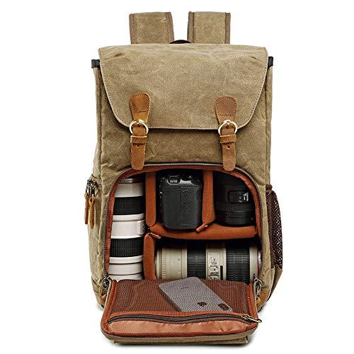 Serious Lamp Kamerarucksack Spiegelreflex Tasche Wasserabweisend Fotorucksack Camera Backpack Bag Kompatibel mit Canon Nikon Sony DSLR Objektiv Stativ,Khaki