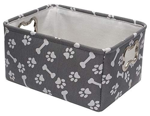 Geyecete-Canastas de almacenamiento de juguetes para perros con impresión de lona para mascotas,con mango de metal diseñado en forma de hueso, juguete para mascotas y almacenamiento accesorios-Gris