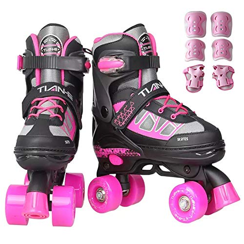 Roller Skate Lightweight, Quad Roller Skates Adjustable for Kids, Child Safety Design Quad Skates for Teens, Suitable for Indoor and Outdoor Environments,B,S(12.5‐1.5UK/31‐34EU)
