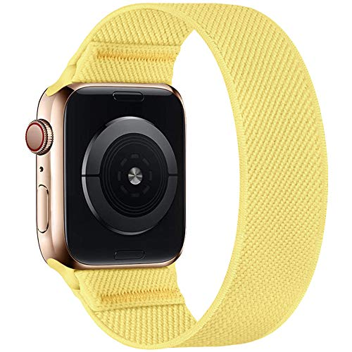 ENJINER Stretchy Nylon Solo Loop Bands Compatible with Apple Watch 38mm 40mm42mm 44mm iWatch Series 6 SE 5 4 3 2 1 Strap, Sport Elastic Braided No Buckles Clasps Women Men, 42/44mm S Cream Yellow