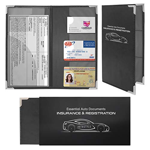 Autostyle 2 Pack Corner Guard Insurance Card and Registration Document Holders | Premium Wallet with Magnetic Closure (Black)