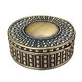 Joyero de Metal Vintage Simple de Estilo Europeo del Grano Punto joyería Sello Redondo de Metal Caja de Almacenamiento de la manija Box Collection (Color : Bronze, Size : 14X14X5.5CM)