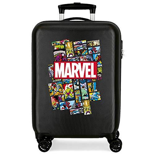 Marvel Los Vengadores Comic Maleta de Cabina Negro 38x55x20 cms Rígida ABS Cierre combinación 34L 2,6Kgs 4 Ruedas Dobles Equipaje de Mano