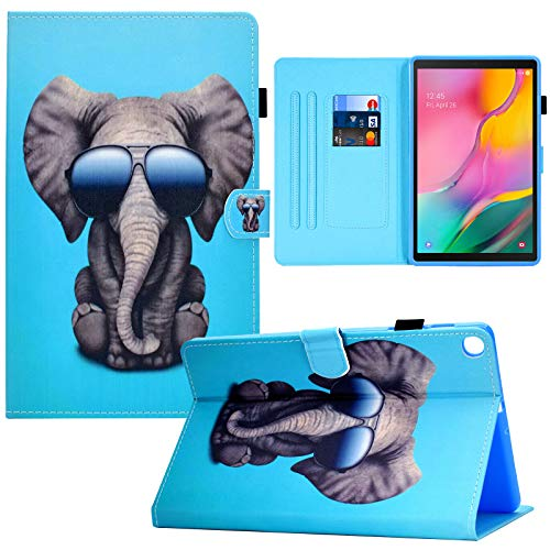 RASUNE Galaxy Tab A 10.1 Case,PU Leather Card Slot Folio Case Full-Body Protective Multiple Viewing Angles Stand Case for 10.1 Inch Samsung Galaxy Tab A SM-T510 SM-T515 SM-T517 Tablet -Cool Elephant