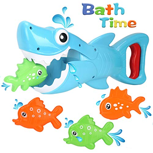 For Sale! Bammax Bath Toys, Shark Grabber Baby Bath Toy Set Bathtub Toy, Great White Shark with Teet...