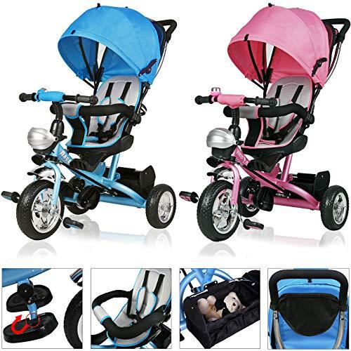 Deuba Triciclo Passeggino per Bambini Sedile Girevole Bicicletta con maniglione Cintura di Sicurezza a 5 Punti cappottina Rimovibile con finestrella Blu