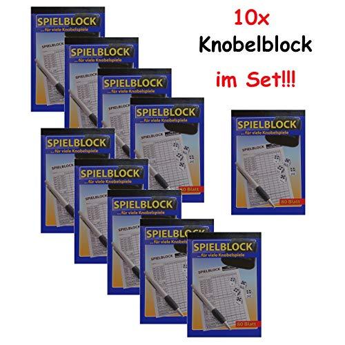 ka 10x Knobelspiel Würfelspiel Spielblock Knobel Würfel Block 80 Blatt Knobelblock Spiel