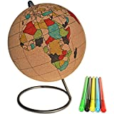 Globe Trekkers - Small Color-in Cork Globe with 5 Different Colored Markers & Durable Steel Base | Great for Mapping Travels & Educational Purposes | Does Not Have Plastic Strip Like Most