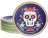 Platos desechables – 80 platos de papel, suministros para fiesta de día de los muertos para aperitivos, almuerzos, cenas y postre, diseño de calavera de Dia de los Muertos, 9 pulgadas de diámetro