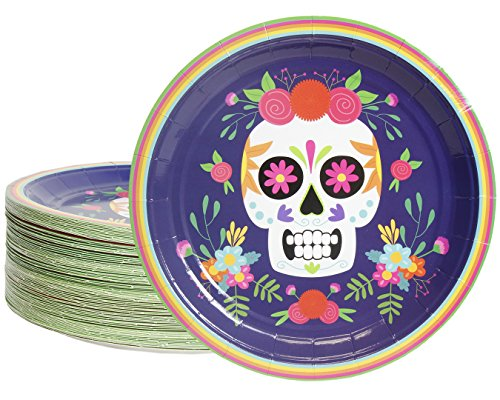 Disposable Plates - 80-Count Paper Plates, Day of The Dead Party Supplies for Appetizer, Lunch, Dinner, and Dessert, Dia De Los Muertos Skull Design, 9 Inches in Diameter