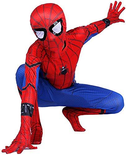 Niño Spiderman Traje, Homecoming Disfraz Halloween Carnaval Superheroe Spider-man Cosplay Suit 3D Print Spiderman Traje,Ffh-XL(142~152)
