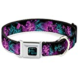 Dog Collar Seatbelt Buckle Harley Quinn Pow Aiming Poses Joker Black Turquoise Fuchsia 11 to 17 Inches 1.0 Inch Wide
