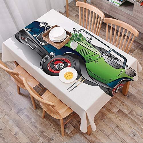 Rechteck Tischdecke140 x 200 cm,Autos, handgezeichnete Cabrio Oldtimer grün mit bunten Felgen Retro Fah,Couchtisch Tischdecke Gartentischdecke, Mehrweg, Abwaschbar Küchentischabdeckung für Speisetisch