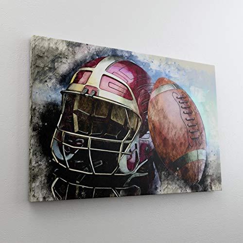 DesFoli American Football Helm Ball Leinwand Canvas-Bild Wandbild Kunstdruck L3205 Größe 70 cm x 50 cm