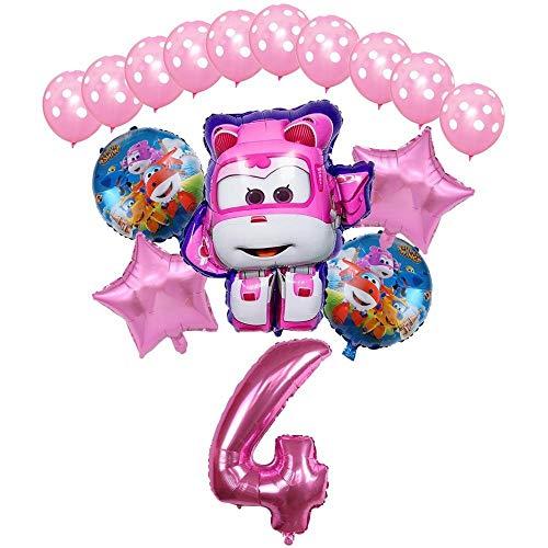 XIAOYAN Globos 16pcs Super Wings Balloon Jett Globloons Super Wings Toys Fiesta de cumpleaños 32 Pulgadas Número Decoraciones Niños Juguete Globos Suministros ( Color : Pink4 )