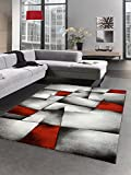 CARPETIA Moderna Alfombra Pelo Corto Alfombra Sala de Estar Abstracta Karo Negro Gris Blanco Rojo Größe 120x170 cm