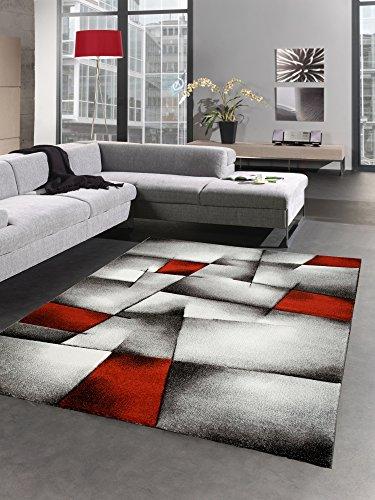 CARPETIA Modern Tapis Poil Ras Tapis de Salon résumé Karo Noir Gris Blanc Rouge Größe 160x230 cm