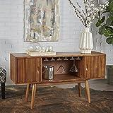 Mid Century Modern Light Oak Wood Wine Cabinet