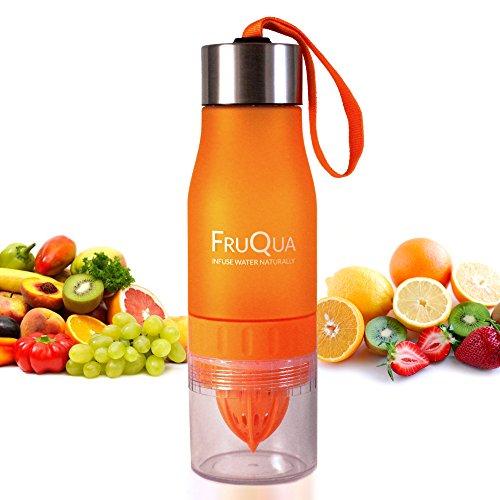 fruqua Fruits Infuser Bouteille deau en 7couleurs vives, sans BPA, 650ml pour boire avec fruits gratuite enrichi en eBook de recettes, anti-fuite, Materiau fabrique avec Tritan, des solutions ayka orange