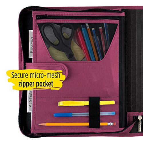 Five Star 1-1/2 Inch Zipper Binder, 3 Ring Binder, 3-Pocket Expanding File, Durable, Berry Pink/Purple (72532) Photo #3