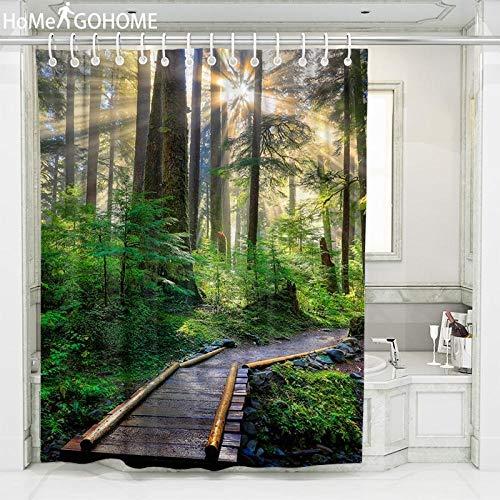 bnbnmbmv689 Decorazioni Bagno 3D Umbria Luce Solare Foresta Tenda da Doccia Paesaggio Tessuto Impermeabile Tenda da Bagno Schermo Trasparente Trasparente con Ganci 180 * 200Cm