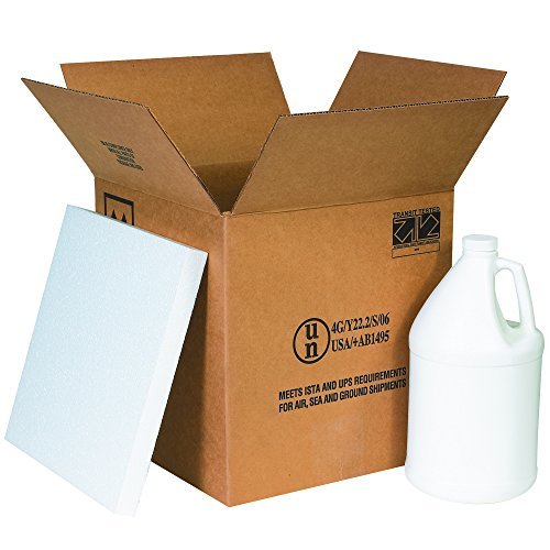 Boxes Fast BFHAZ1132 Haz Mat Plastic 4-Gallon Jug Shipping Kit, Includes Foam Inserts and Plastic Jugs with Caps, 12 1/4' x 12 1/4' x 12 3/4'