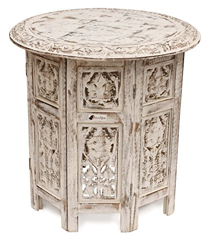 SouvNear SG-SNPR-198 White Handcrafted Carved Folding Accent Coffee Table, 18 x 18 x 18 Inches,