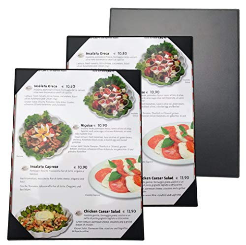 12 Pcs of Restaurant Menu Covers Holders 8.5 X 11 Inches,No Stitching,Single View,Sold by Case,with Clear PVC Sheets for Paper Protection